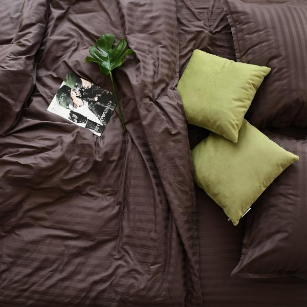 """Комплект постільної білизни """"Stripe"""", євро, какао"""